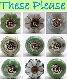 Green White Ceramic Door Knobs Handle Cabinet Cupboard Drawer Pull Polka Dot