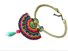 Colorful beaded necklace by AniDandelion.deviantart.com on @deviantART