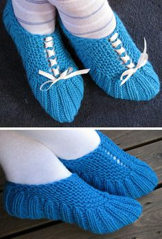 Free Knitting Pattern for Easy Tesha Slippers - These easy slippers are knit flat for the upper slipper and then joined to knit the toe in the round. The increases create eyelets that are perfect for ribbon lacing. Designed by Torunn Elise Haugen. Available in Norwegian and English. Rated easy by Ravelrers