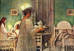Santa Lucia~ Swedish traditions~ Carl Larsson painting-I did this every December 13 until I went away to college! Carl Larsson, Santa Lucia, Swedish Christmas, Scandinavian Christmas, Christmas Art, Christmas Morning, Xmas, St Lucia Day, Alphonse Mucha