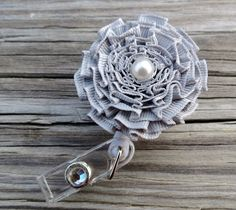 ID Badge Holder in Pleated Ribbon Flower by RIBBONSandREELS, $9.99