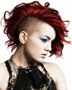 Faux Hawk Hairstyle is storming the fashion domain and deserves to be tried at least once. Check out some cool ideas on faux hawk hairstyles. Bright Red Hair, Bright Hair Colors, Red Hair Color, Blue Hair, Red Color, Short Red Hair, Short Hair Cuts, Thin Hair, Undercut Hairstyles
