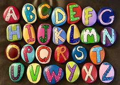 Alphabet Learning Stones Painted Rocks — ABC's + Colors, Play Set, Toys & Story Stones Alphabet Learning Stones Painted Rocks –ABC's & Colors Rock Crafts, Diy And Crafts, Crafts For Kids, Arts And Crafts, Toddler Crafts, Story Stones, Grandparents Day Crafts, Alphabet For Kids, Abc Alphabet