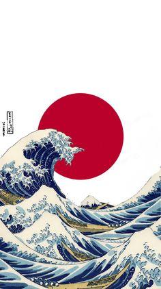 Waves Wallpaper, Anime Scenery Wallpaper, Retro Wallpaper, Aesthetic Iphone Wallpaper, Cartoon Wallpaper, Wallpaper Backgrounds, Aesthetic Wallpapers, Japanese Art Prints, Japanese Artwork