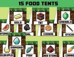 minecraft party food labels printable - Google Search