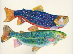 """Watercolor fish painting by Suzanne Leonard """"I generally characterize my artwork as loose realism, working from the strength of the medium while building on the fluid nature and translucence of watercolor painting."""""""