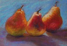 """Daily Paintworks - """"Pear Trio"""" - Original Fine Art for Sale - © Sharon Lewis"""