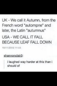 USA- we call it fall because leaves fall down