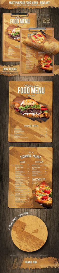 Multipurpose Food Menu - New Art - & US Letter # Food and Drink menu design Drink Menu Design, Restaurant Menu Design, Food Design, Design Art, Graphic Design, Seafood Menu, Seafood Restaurant, Restaurant Recipes, Food Menu Template