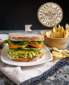 Avocado & Garbanzo Bean Sandwich Spread: Prep Time: 25 Minutes  Makes: About 4 Cups