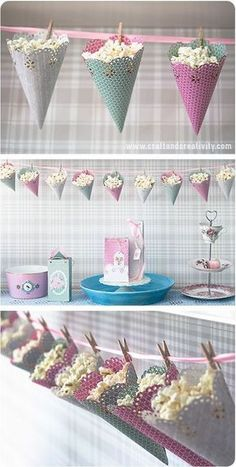 DIY Popcorn cones – cute way to decorate and serve at your party…OR storage in play room. DIY Popcorn cones – cute way to decorate and serve at your party…OR storage in play room. Decor Crafts, Diy And Crafts, Rock Crafts, Homemade Crafts, Festa Party, Diy Party Decorations, Popcorn Decorations, Christmas Decorations, Vintage Decorations