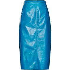 Philosophy di Lorenzo Serafini Leather Skirt (€3.875) ❤ liked on Polyvore featuring skirts, genuine leather skirt, real leather skirt, nina ricci, blue leather skirt and nina ricci skirt