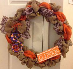 Clemson Burlap Wreath by 5FancyFlamingos on Etsy, $50.00