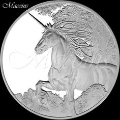2014 Tokelau 1 Troy Oz Silver Proof Coin. Unicorn. Creatures of Myth & Legend.