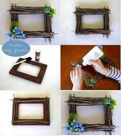 Unique Twig Frame - Read on to find 10 effortless DIY picture frame ideas. Photo Frame Decoration, Picture Frame Crafts, Photo Frame Design, Picture Frame Inspiration, Unique Picture Frames, Dyi Photo Frames, Photo Frame Ideas, Diy Photo, Marco Diy