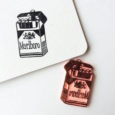 Marlboro stamp.hand carved stamp. rubber by HalfABucketOfWater