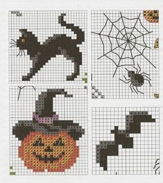 cross-stitch Halloween charts... no color chart available, just use the pattern chart as your color guide.. or choose your own colors...
