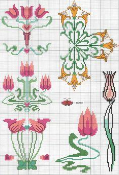 art nouveau flowers -- tulips, lilies