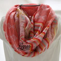 Paisley Stripes and Flower Dots  Pink  Red Yellow by elgies