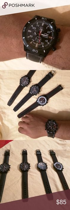 Mens Sport Watch Bundle Set of 4 Men's Sport watches with silicone rubber bands. Accessories Watches