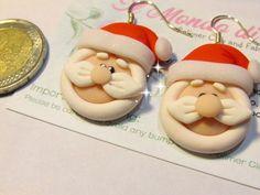 Pendientes de Navidad Santa Claus Kawaii pendat arcilla Clay Earrings, Clay Jewelry, Christmas Clay, Christmas Ornaments, Kawaii, Pasta Flexible, Christmas Decorations, Holiday Decor, Polymer Clay Crafts
