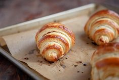 Croissant Recipe from Scratch (small batch recipe) - Dessert for Two Fresh Bread, Sweet Bread, Amelie, No Bake Desserts, Dessert Recipes, Homemade Croissants, Croissant Recipe, Dessert For Two, French Bakery