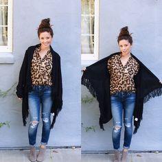 6e08704d93f Black cardigan. ellajboutique s photo on Instagram Leopard Blouse