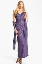 Sue Wong Embellished Tulle Overlay Gown & Shawl