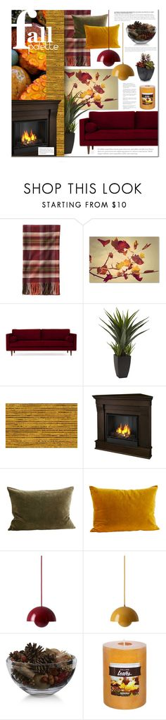"""""""fall palette"""" by lifestyle-ala-grace ❤ liked on Polyvore featuring interior, interiors, interior design, home, home decor, interior decorating, Pendleton, Trademark Fine Art, Joybird and Real Flame"""