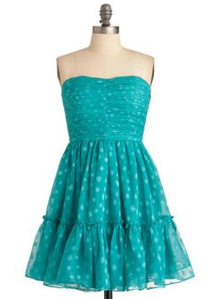 Just the Dot of You Dress from ModCloth ~ Your true love already thinks you're a dream, but when you're seen in this sweeter-than-imaginable strapless dress, your beau is bound to fall in love all over again! Steal an extra thought or two by traipsing side by side in the uneven dots of this teal piece, and expand onlookers' imaginations by clasping a statement necklace of green beads above its gathered, padded bodice.