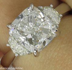 GIA 3.50ct Estate Vintage Cushion Diamond Three Stone Engagement Wedding Platinum Ring