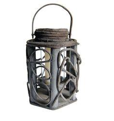 Folk Art Lantern Vintage Handmade Twisted Willow by Curiopolis