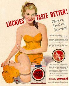 Lucky Strike Cigarettes Beach Girl 1953 Yellow
