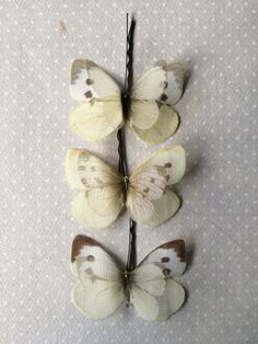 Handmade Butterfly Pieris Rapae Hair Bobby Pins in White and