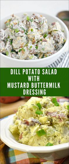 Dill Potato Salad with Mustard Buttermilk Dressing salad mustard Potato Salad Dill, Potato Salad Dressing, Potato Salad Mustard, Dill Potatoes, Vegan Recipes Easy, Vegetarian Recipes, Buttermilk Dressing, Mustard Recipe, Buttermilk Recipes