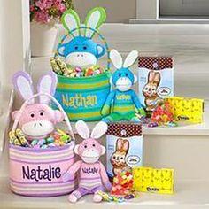 Personalized Sock Monkey Easter Bunny Basket Bundle