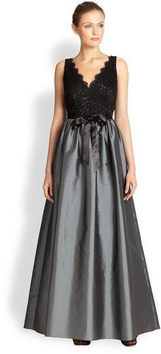 df81314d172 Aidan Mattox - Gray Lace-Bodice Gown - Lyst