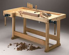 European-style woodworking  workbench plan