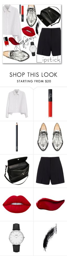 """""""not for you my red lip!"""" by strange-girl0 ❤ liked on Polyvore featuring beauty, Y's by Yohji Yamamoto, NARS Cosmetics, Oxford, Marni, T By Alexander Wang, Lime Crime, Kat Von D, CLUSE and REDLIP"""