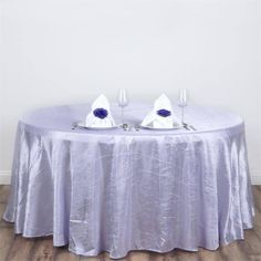 """117"""" Lavender Crinkle Crushed Taffeta Round Tablecloth Lavender Wedding Decorations, Lavender Wedding Theme, Silk Rose Petals, Table Overlays, Pastel Decor, Chair Sashes, Wedding Reception Tables, Round Tablecloth, Table Covers"""