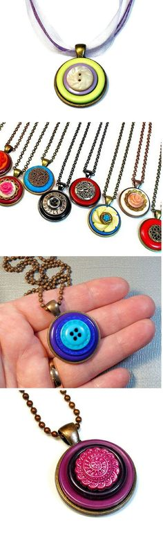 Button jewelry, necklace pendants on Etsy by BluKatDesign. Find them HERE: www.etsy.com/... - Crafting Tips
