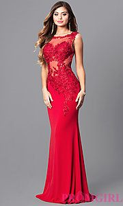 Lace-Applique Red Prom Dress from JVNX by Jovani
