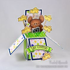 A fun box card made using the Pudgie Mouse stamps & dies designed by Stephanie Barnard at The Stamps of Life.