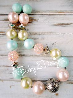 Mint Silver Pale Yellow and Pale Pink Chunky Necklace by babyzdesigns