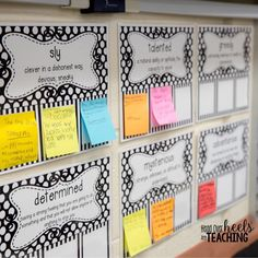 One of my favorite interactive yearlong resources...character trait posters! Every time we meet a character, we analyze their character traits and write evidence on sticky notes to support our thinking. Joanne Miller @headoverheelsforteaching