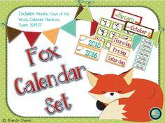Cute fox themed calendar set.  A fox themed classroom would be so cute:)