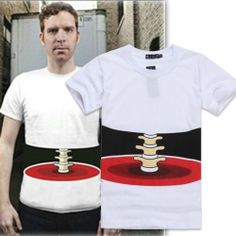 Fashion Half Body Stereo Bone Printed Funny Cotton Short Sleeve T-shirt L