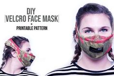 Velcro Face Mask: This is a Velcro strap face mask with filter pocket. Flu Mask, Diy Face Mask, Face Masks, Bias Tape, Mask Design, Velcro Straps, Clothing Company, Sewing Patterns, Halloween Face Makeup