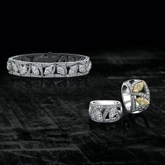 Boodles / One of a kind diamond bracelet and rings set with white and yellow diamonds from the brand's new PasdeDeux high jewellery collection