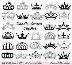 Doodle Crown Clipart, Hand drawn Crown Clip Art, Crown Silhouette, Digital…